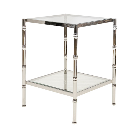 Worlds Away - Nickel Plated Bamboo Side Table - SERENA N