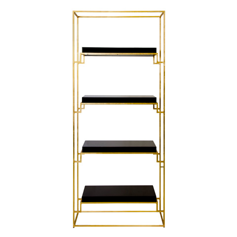 Worlds Away - Gold Leaf Etagere with Black Shelves - SHADOW BLG