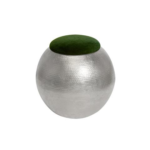 Worlds Away - Silver Leaf Hammered Stool with Green Cushion - TABOURET SG