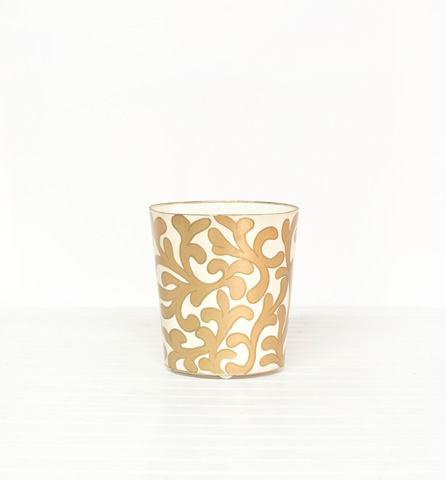 Worlds Away - Cream and Gold Wastebasket - WBJANEG
