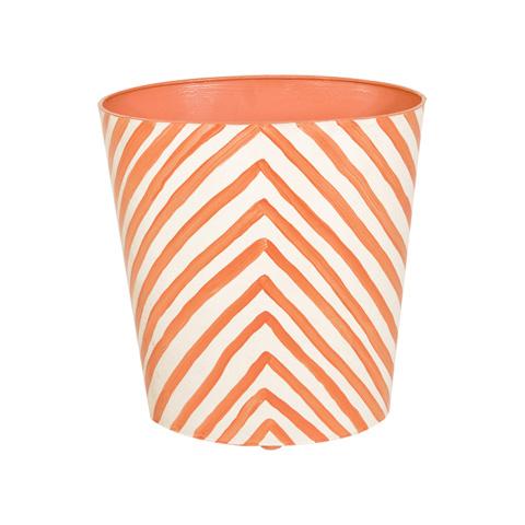 Worlds Away - Orange Zebra Wastebasket - WBZEO