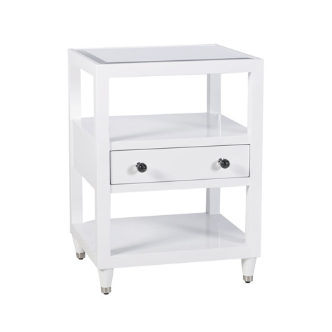 Worlds Away - White Lacquer Nightstand - WINDSOR WH