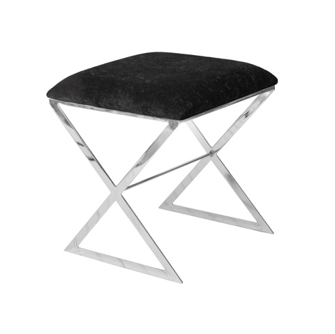 Worlds Away - Nickel Plated Side Stool with Black Cushion - X SIDE NUB