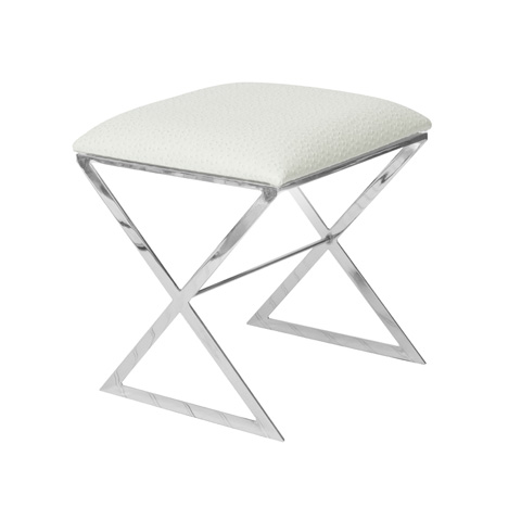 Worlds Away - Nickel Plated Side Stool with White Cushion - X SIDE NUO
