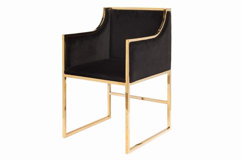 Worlds Away - Black Velvet Dining Chair - ANABELLE BRB