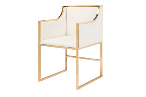 Worlds Away - White Linen Dining Chair - ANABELLE BRW