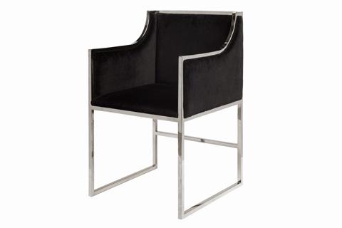 Worlds Away - Black Velvet Dining Chair - ANABELLE NB