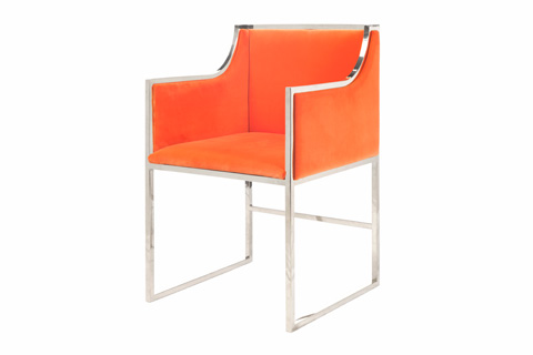 Worlds Away - Orange Velvet Dining Chair - ANABELLE NO
