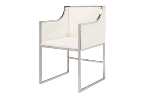 Worlds Away - White Linen Dining Chair - ANABELLE NW