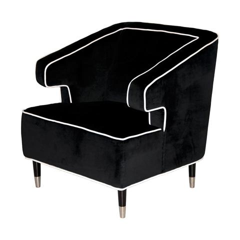 Worlds Away - Black Velvet Chair - ARTHUR BL