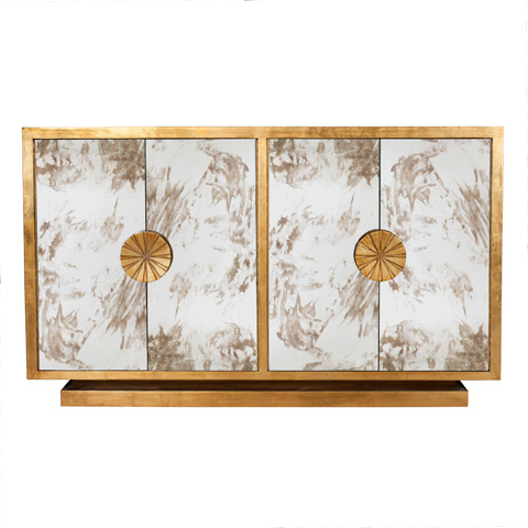 Worlds Away - Gold Leaf and Antique Mirror Cabinet - CALYPSO G