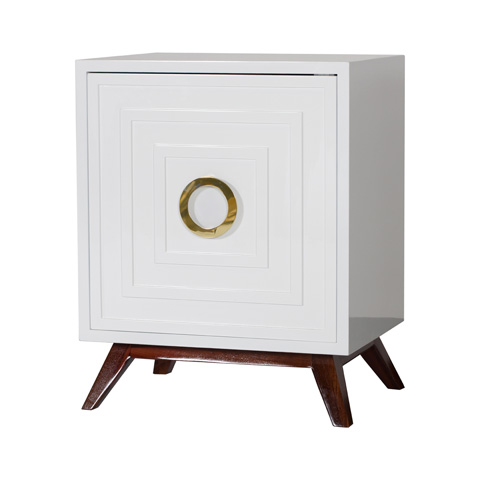 Worlds Away - White Lacquer Nightstand - COOPER WH