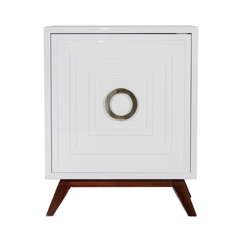 Worlds Away - White Lacquer Nightstand - COOPER WHN