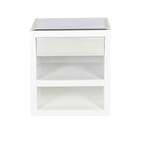 Worlds Away - White Lacquer Cabinet - DUNCAN MWH