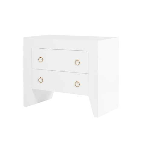 Worlds Away - White Lacquer Two Drawer Side Table - EASTON WH