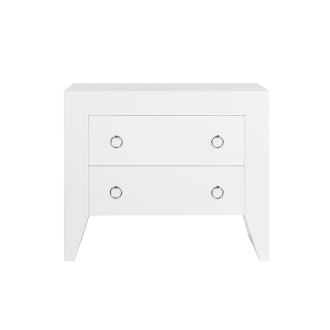 Worlds Away - White Lacquer Two Drawer Side Table - EASTON WHN