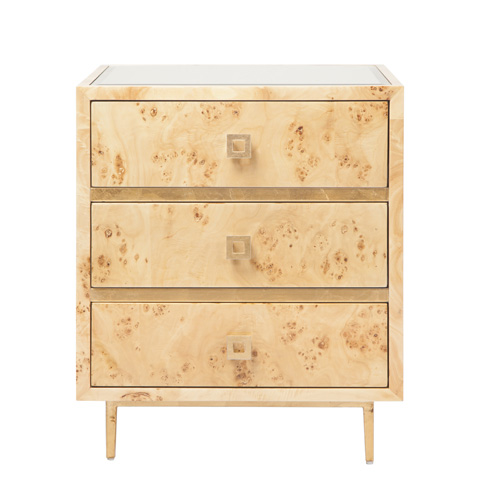 Worlds Away - 3 Drawer Burl Wood Side Table - HYDE BWG