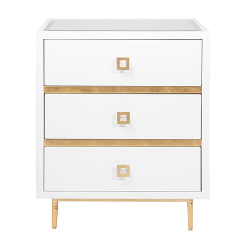 Worlds Away - 3 Drawer White Lacquer Side Table - HYDE WHG