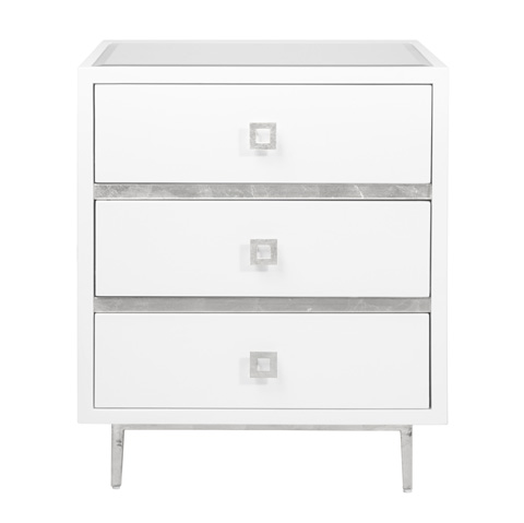 Worlds Away - 3 Drawer White Lacquer Side Table - HYDE WHS