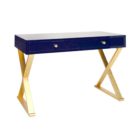 Worlds Away - Navy Lacquer Desk - JARED NVYG