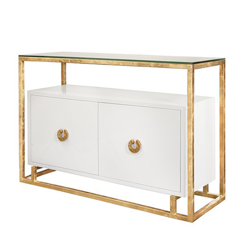 Worlds Away - White Lacquer Two Door Floating Cabinet - JUNO WHG