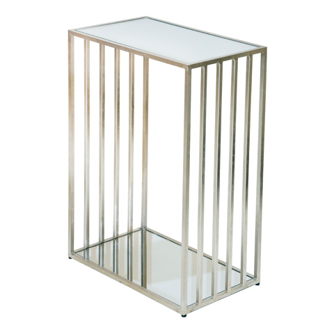 Worlds Away - Silver Leaf Rectangular Iron Table - MARCO S