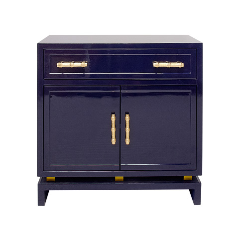Image of Navy Lacquer Accent Cabinet
