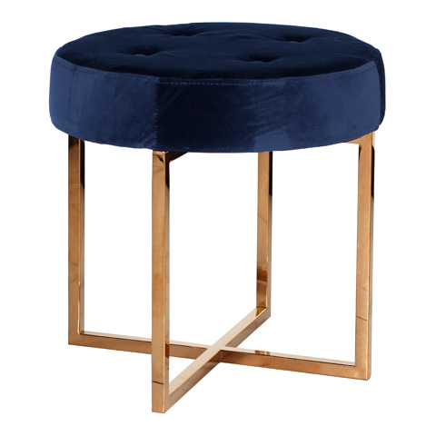 Worlds Away - Navy Velvet Round Stool - MELANIE NVY