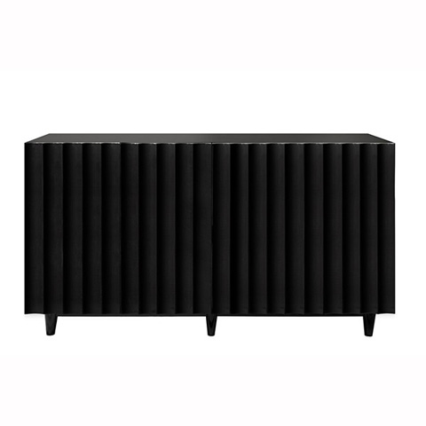 Worlds Away - Black Lacquer 4 Door Scalloped Front Cabinet - ODETTE BL