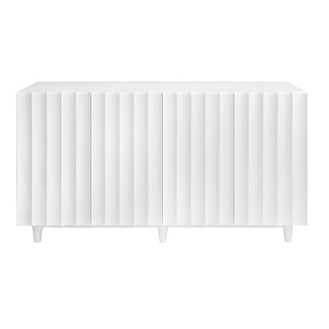 Worlds Away - White Lacquer 4 Door Scalloped Front Cabinet - ODETTE WH