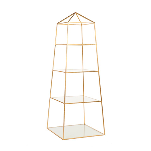 Worlds Away - Gold Leaf Obelisk Etagere - PIPER G