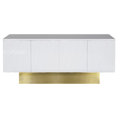 Worlds Away - White Lacquer Wave Detail Console - VALERIE WH