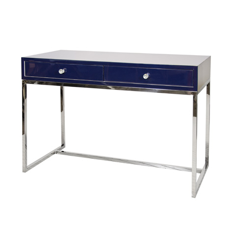Worlds Away - Navy Lacquer 2 Drawer Desk - WILLIAM NVYSS