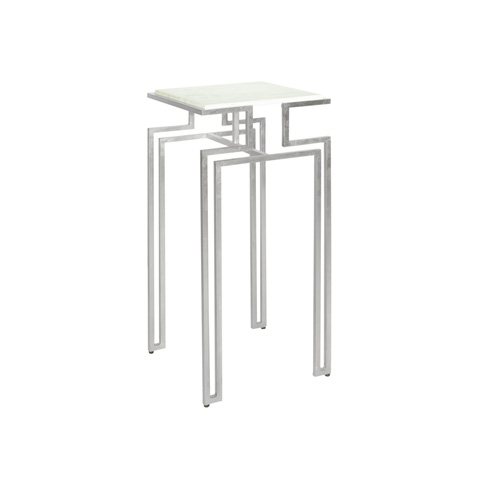 Worlds Away - Silver Leaf Square Iron Side Table - BAXTER S