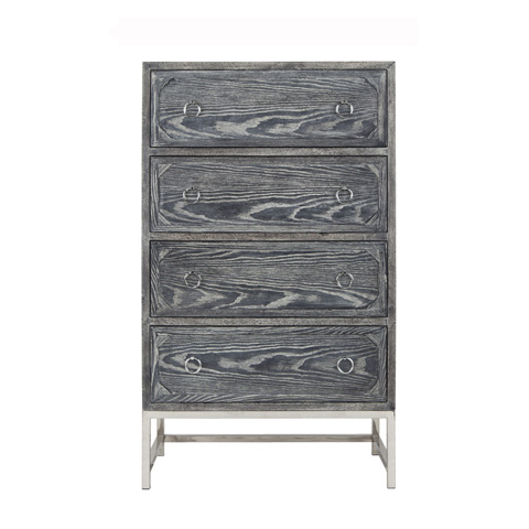 Worlds Away - Upright Four Drawer Dresser In Black Cerused Oak - BENTLEY BCON