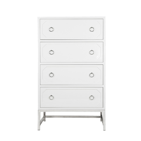 Worlds Away - Upright Four Drawer Dresser In White Lacquer - BENTLEY WHN