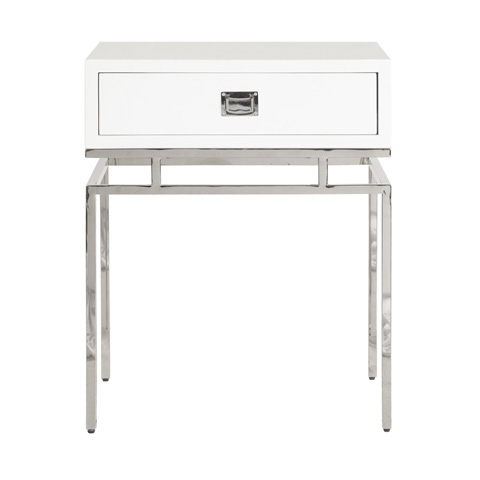 Worlds Away - White Lacquer One Drawer Side Table - CAYSON WHN