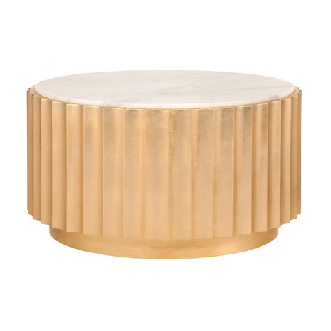 Worlds Away - Gold Leaf Scalloped Round Coffee Table - CLOVE G