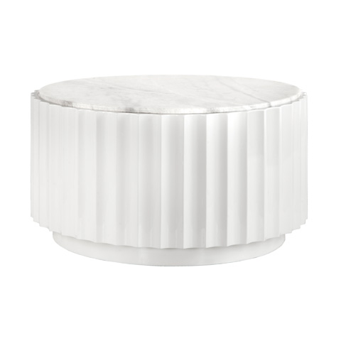 Worlds Away - White Lacquer Scalloped Round Coffee Table - CLOVE WH