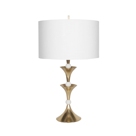 Worlds Away - Antique Brass and Marble Table Lamp - COLBY ABR