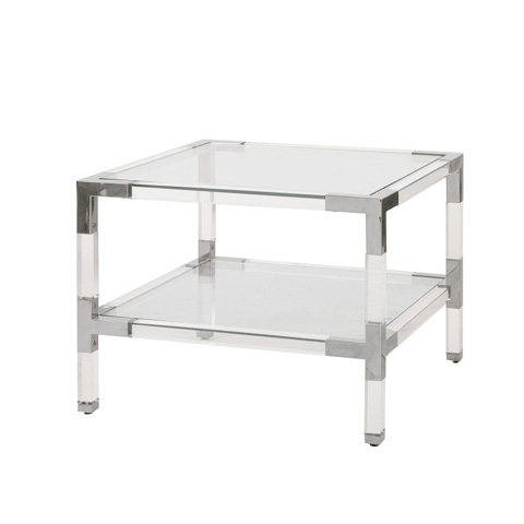 Worlds Away - Two Tier Acrylic Side Table - CONNOR N