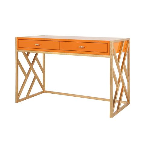 Worlds Away - Orange Lacquer Desk - CORDELIA OR