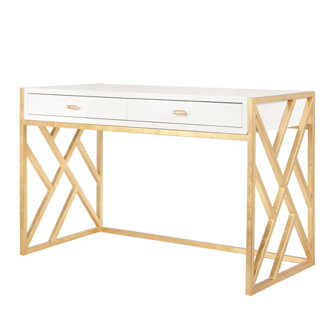 Worlds Away - White Lacquer Desk - CORDELIA WH