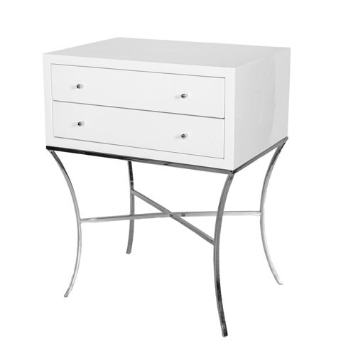 Worlds Away - Two Drawer Side Table in White Lacquer - ELENA WHN