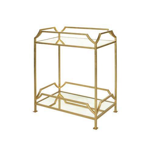 Worlds Away - Rectangular Iron Two Tier Side Table in Gold Leaf - JOSHUA G
