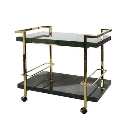 Worlds Away - Bar Cart with Nickel Frame - MADDOX MAL