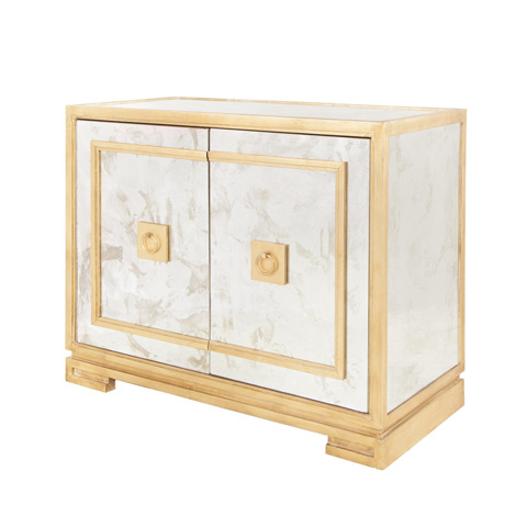 Worlds Away - Antique Mirror and Gold Leaf Two Door Cabinet - OPHELIA G