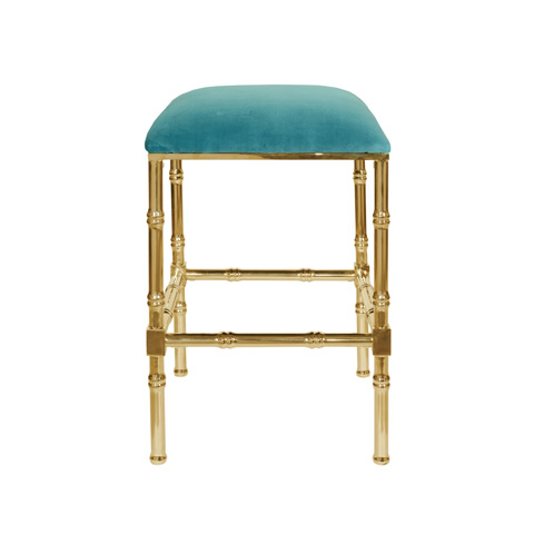 Worlds Away - Brass Bamboo Counter Stool - SADLER TURQ