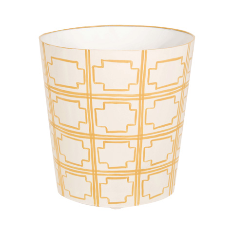 Worlds Away - Oval Wastebasket in Yellow and Cream - WBSQUAREDY