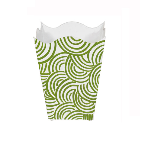 Worlds Away - Square Wave Top Wastebasket in Green - WBWBREAKERGR